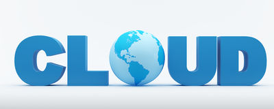 Cloud word with blue globe. 3d render of cloud word with blue world map textured globe Royalty Free Stock Photo