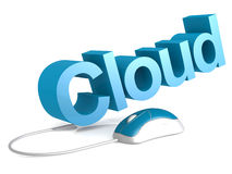 Cloud word with blue mouse Stock Photos