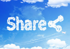 Cloud word : SHARE on the sky. Royalty Free Stock Image