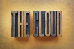 The Cloud. The words THE CLOUD written in vintage letterpress type stock photo