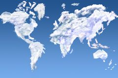 Cloud world. The world map made of clouds vector illustration