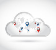 Cloud world map communication emails. illustration Stock Photography