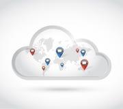 Cloud world map communication emails. illustration Stock Photography