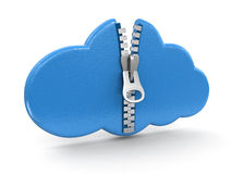 Cloud with zipper (clipping path included) Royalty Free Stock Images