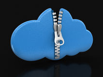 Cloud with zipper (clipping path included) Stock Images