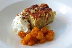 Cloudberries with cake and ice cream Royalty Free Stock Images