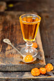 Cloudberry liqueur with berries Royalty Free Stock Photos