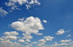 Clouded sky. In blue n white cumulus Royalty Free Stock Photos