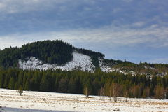 Cloudes και δέντρα, χειμερινό τοπίο σε Šumava σε Horská Kvilda, Τσεχία Στοκ εικόνα με δικαίωμα ελεύθερης χρήσης