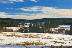 Cloudes and trees, winter landscape in Šumava in Horská Kvilda, Czech republic Stock Photography
