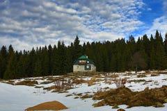 Cloudes and trees, winter landscape in Šumava in Filipova Huť, Czech republic Stock Images