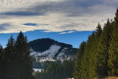 Cloudes and trees, winter landscape in Šumava in Horská Kvilda, Czech republic Stock Photo