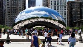 Cloudgate rzeźby Illinois milenium fasola Odzwierciedlający Chicagowski park zbiory wideo