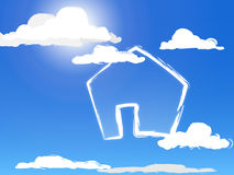 Cloudhouse. A house-symbol painted in the clouds Stock Images