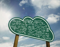 Clouding calculation sign board. Clouding networking with calculation Royalty Free Stock Image