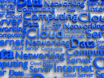 Clouding data. 3d illustration of blue words associated with external data stokages Royalty Free Stock Photo