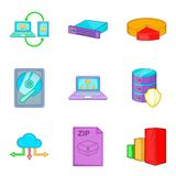 Clouding icon set, cartoon style Stock Photography