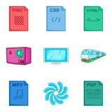 Clouding types icon set, cartoon style Stock Images