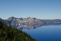 A cloudless clean horizontal view of the Crater Lake in Oregon, US Royalty Free Stock Images