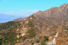 Cloudless the great wall mutianyu. The great wall tourist area is surrounded by mountains and beautiful scenery. spring, female shoots core, spring autumn royalty free stock photography