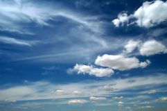 Clouds. After summer storm: clear bright sky and fluffy stock photography