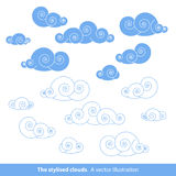 Clouds. The stylised clouds. A  illustration Stock Photography
