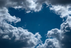 Clouds. Small clouds in the dark blue sky. Series clouds Royalty Free Stock Photo