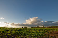 Clouds. Sunset in Shropshire, England, fields and clouds royalty free stock image