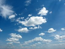 Clouds. On blue sky in perspective Stock Photo