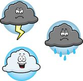 Clouds. Three different clouds with different expressions Stock Image