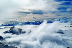 Clouds. On cervinia from plateau rosa Royalty Free Stock Photos