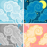Clouds. Set of four seamless patterns with sky and clouds Stock Photography