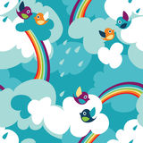 Clouds. Seamless pattern with birds and clouds Stock Images