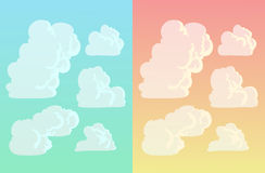 Clouds. Set of fluffy clouds in the blue and evening sky Stock Photos