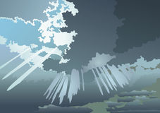Clouds. A kind of clouds from a window. It is made on a photo. A vector stock illustration