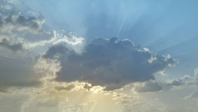 Clouds. Sun covered behind evening clouds Royalty Free Stock Photo