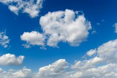 Clouds. White clouds are photographed on a blue background Stock Images