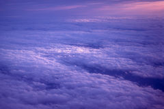 Clouds. From above at sunset Stock Image