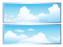 Clouds. A cartoon sky scene with white fluffy clouds stock illustration