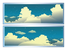 Clouds. A cartoon sky scene with white fluffy clouds Stock Image
