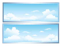 Clouds. A cartoon sky scene with white fluffy clouds royalty free illustration