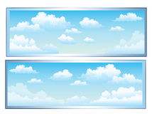 Clouds. A cartoon sky scene with white fluffy clouds Vector Illustration