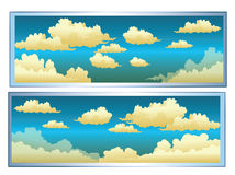 Clouds. A cartoon sky scene with white fluffy clouds Stock Images