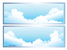 Clouds. A cartoon sky scene with white fluffy clouds Stock Photos