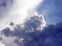 Clouds. Sunrays being filtered by clouds in a lights and shadows sky Royalty Free Stock Images