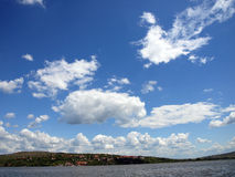 Clouds #. Clouds over grande river Dunav; Serbia stock photo