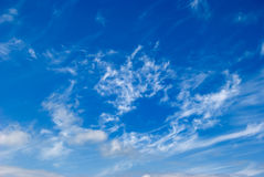 Clouds 7. White clouds are photographed on a background of the blue sky Royalty Free Stock Image