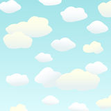 Clouds. A cartoon sky scene with white fluffy clouds