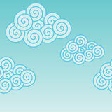 Clouds. Stylized light blue spiral clouds on clear blue sky Vector Illustration