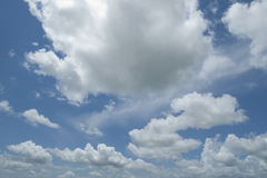 Clouds. Wide angle shot of clouds against blue sky Royalty Free Stock Image